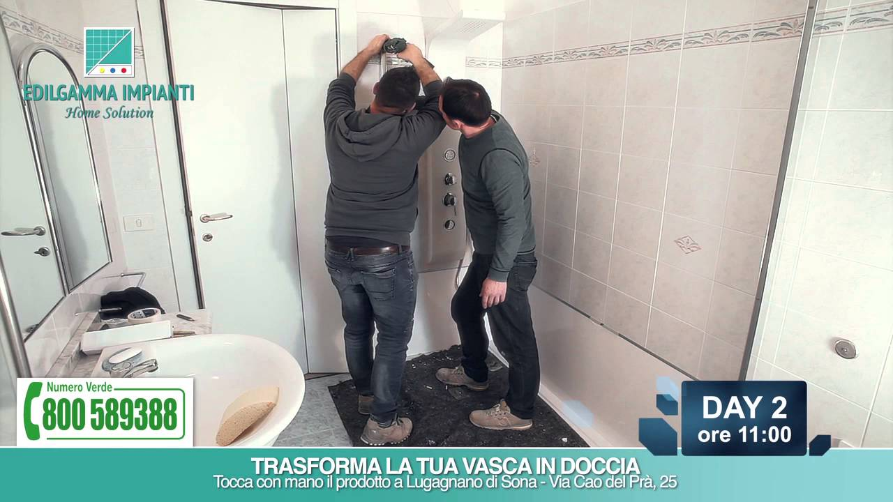Sostituzione vasca con doccia step by step edilgamma impianti di verona youtube for Sostituzione vasca da bagno con doccia prezzi