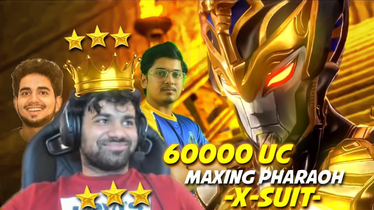 60000 UC MAXING OUT LEGENDARY PHARAOH X-SUIT with @MortaL @SOUL Regaltos @Samay Raina | PUBG MOBILE