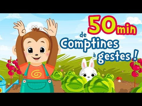 50min of French Nursery Rhymes with gesture for kids and babies (A green mouse, My donkey...)