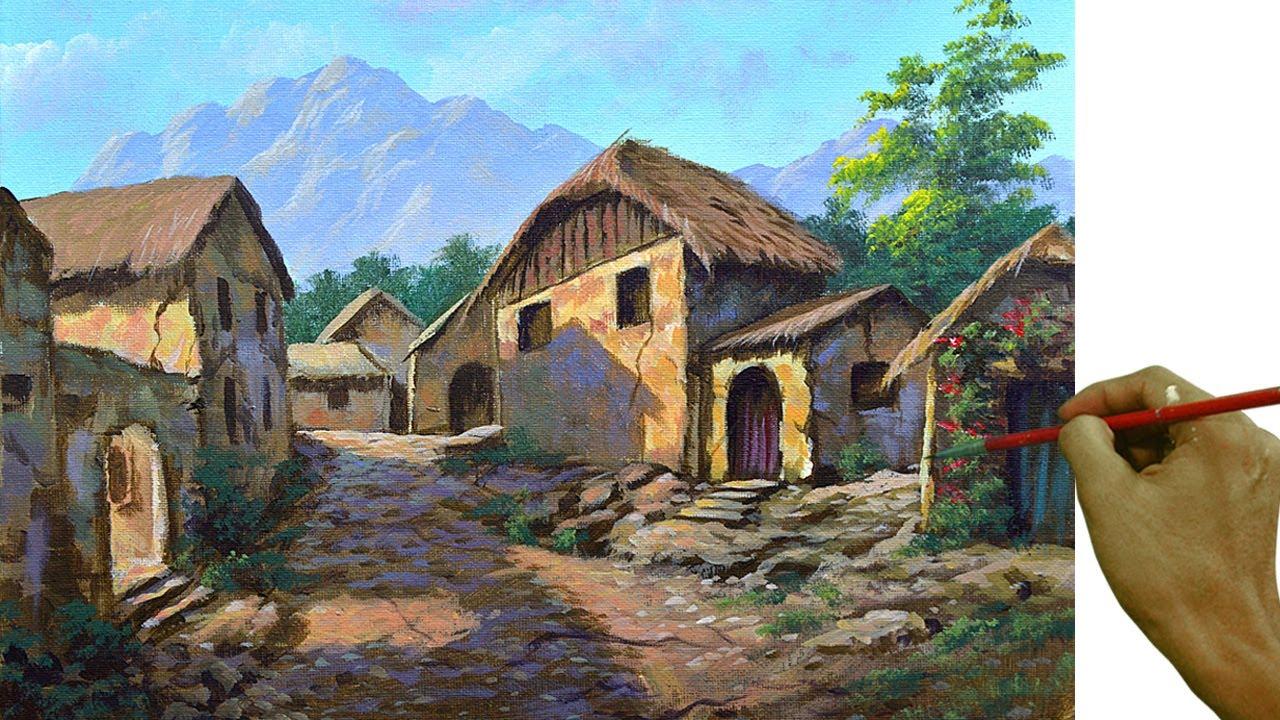 Acrylic Landscape Painting in Time-lapse / Old Village Houses / JMLisondra