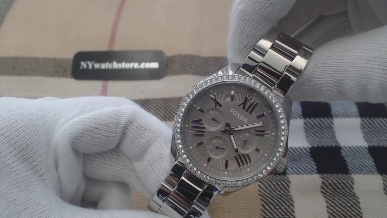 e06e1a8d1ac8 Women s Fossil Cecile Multi Function Crystallized Watch AM4628 - YouTube