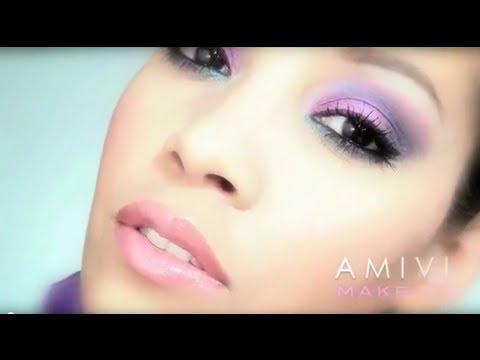 tuto maquillage rose violet