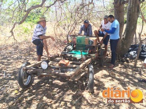Agricultor fabrica carro artesanal e máquina de perfurar poço em São João do Rio do Peixe