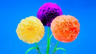 Пушистые цветы для праздника своими руками