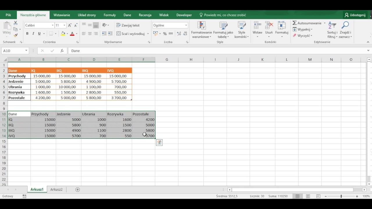 Excel Zamiana Kolumn Na Wiersze Transpozycja