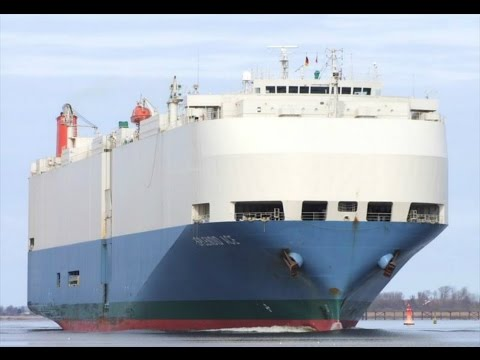 Chesapeake and Delaware Canal - Car Carrier Ship Passing