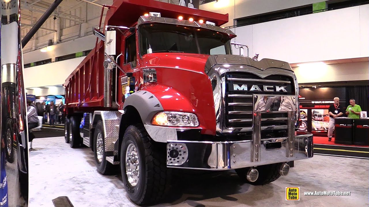 2016 mack granite gu813 axle back twin steer dump truck exterior and cabin walkaround [ 1280 x 720 Pixel ]