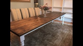 10 Foot Farmhouse Table With turned Legs!!//How TO