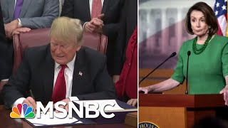 President Donald Trump Postpones Nancy Pelosi's Foreign Trip Until Shutdown Ends | Katy Tur | MSNBC thumbnail