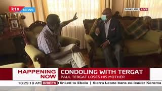 Baringo Senator Gideon Moi condoles with Paul Tergat after he lost his mother