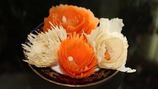 ЦВЕТЫ из МОРКОВИ для украшения любых блюд - Как красиво украсить салат