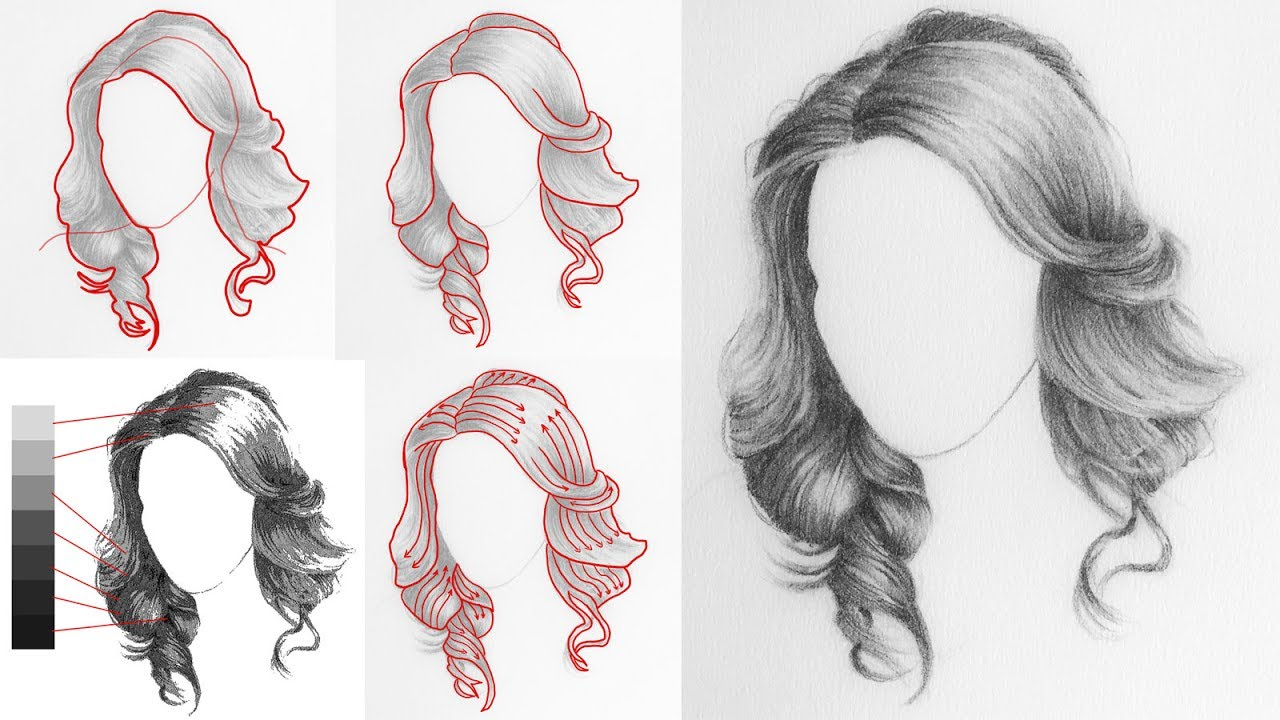 how to draw hair youtube