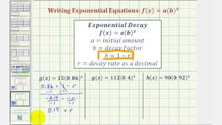 Ex: Find the Iniтial Value and Exponential Growth or Decay Rate Given an Exponential Function