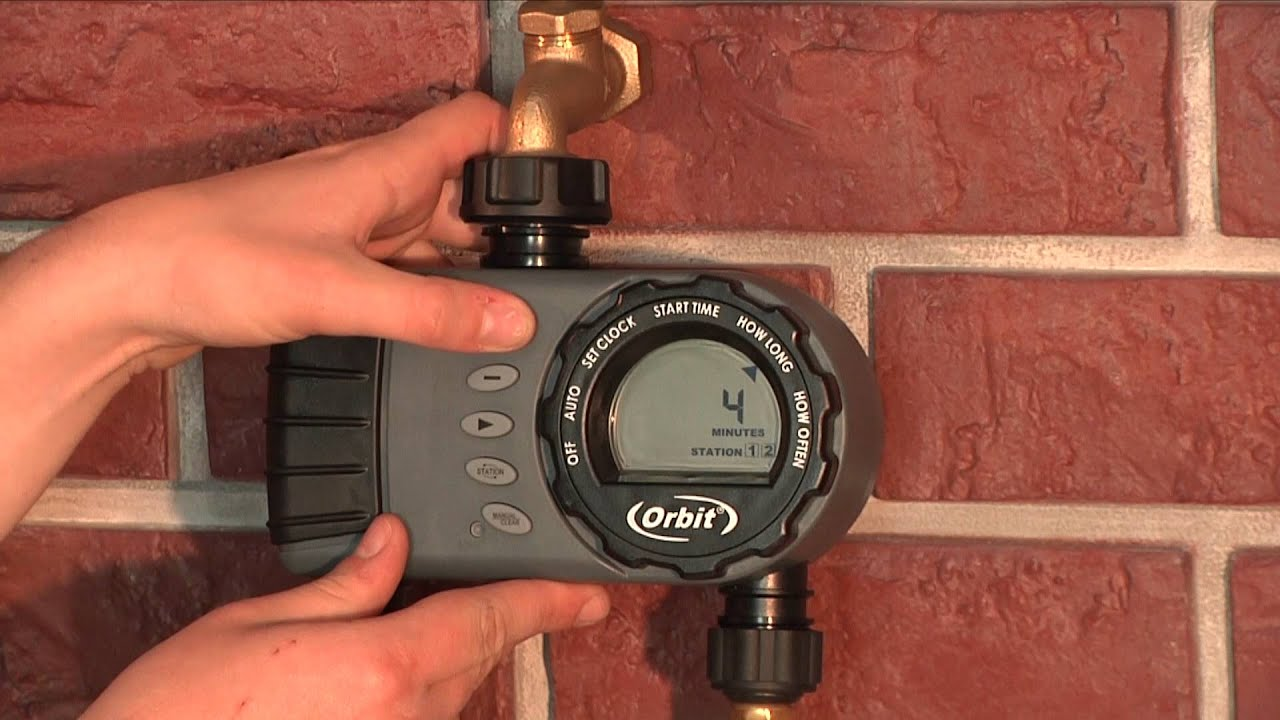 How To Program An Orbit 2-Outlet Hose Faucet Timer (24713) - YouTube