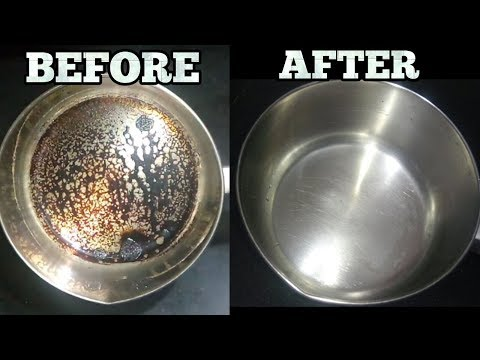 How to Clean Burnt Stainless Steel Pot/Pan-No Harmful Chemicals-Clean Utensils with Baking Soda