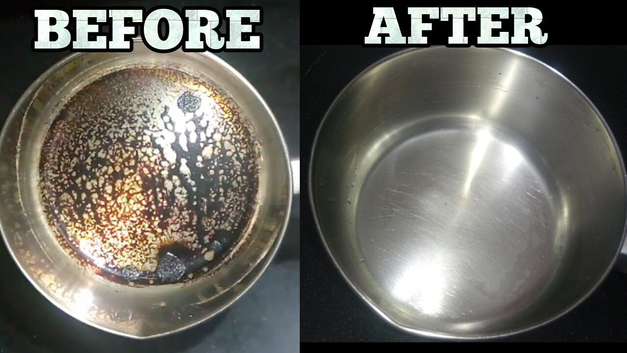 how to clean burnt stainless steel pot pan no harmful chemicals clean utensils with baking soda. Black Bedroom Furniture Sets. Home Design Ideas