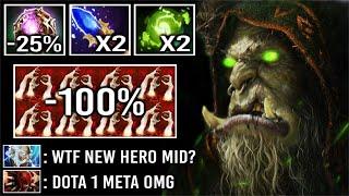 DOTA 1 MID HËRO IS BACK! 2000 IQ Build -100% Slow 7x Golem Crush All Enemy New Imba Warlock Dota 2