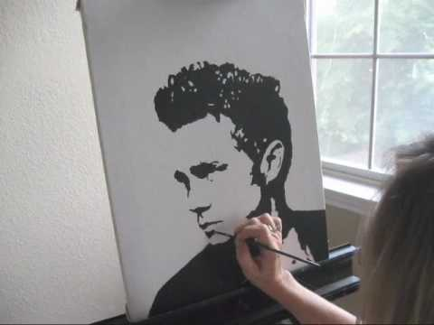 "VENUS PAINTS ""JAMES DEAN"" - Painted Using One Color - Live POP ART Speed Painting ART-STAR.NET"