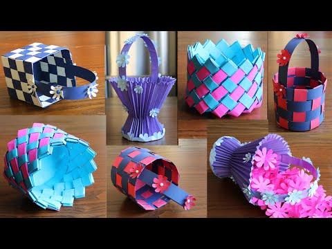 4-beautiful-paper-basket--diy-basket---paper-craft---home-decor