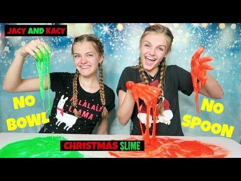 No Bowl No Spoon Christmas Slime Challenge ~ Jacy and Kacy