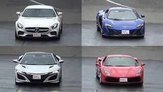 高級車4台 停止からフル加速です。 フェラーリ 488GTB 、マクラーレン 6...