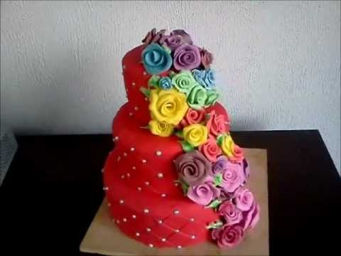 Red 3 Tear Dummy Wedding Cake Quilted And Rainbow Roses Of Gumpaste Fondant