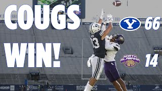 Highlights from the byu football 66 to 14 win over north alabama at lavell edwards stadium. @gregwrubell with call. #byufootball #gocougs