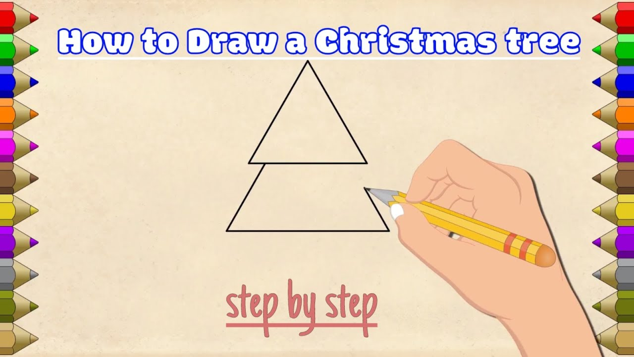 How to draw Christmas tree step by step | line drawing for kids - YouTube