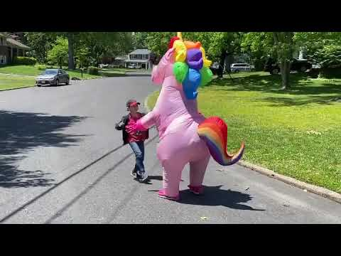 'It was awesome': Kids Hug Grandma Who is in Pink Unicorn Costume for the First Time in Two Months