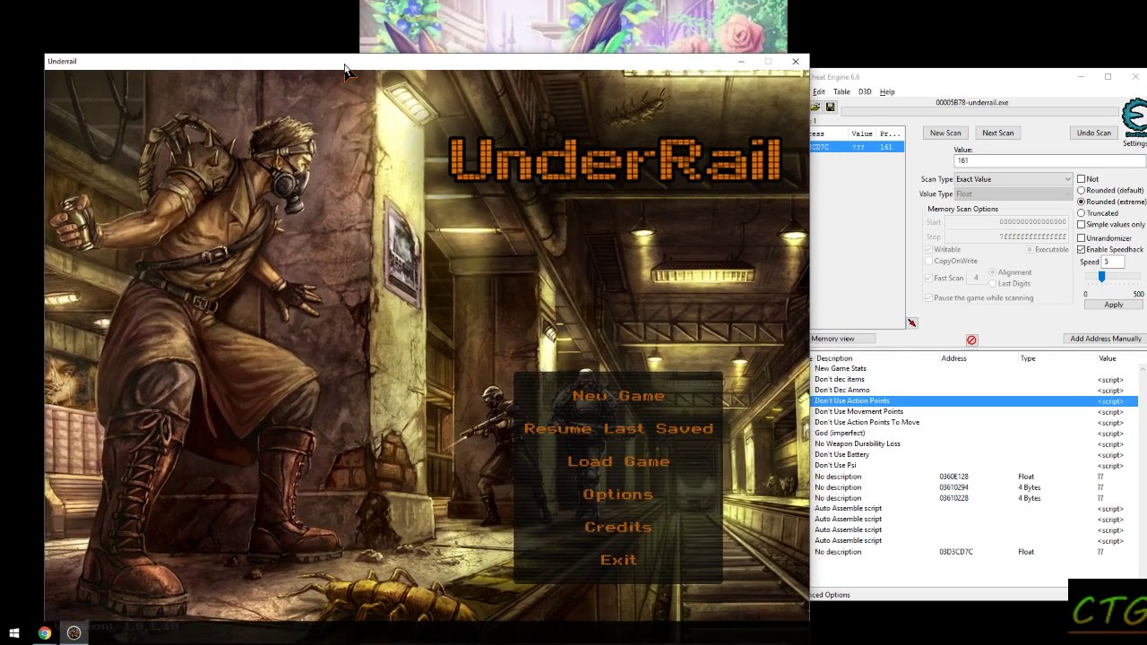 Cheat Engine - Failing to change level cap in Underrail