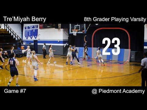 Tre'Miyah Berry 8th Grader Playing Varsity Game 6 @ Piedmont Academy 09 Jan 20