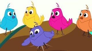 Five Little Birds | Nursery Rhymes For Baby | Kids Songs For Children