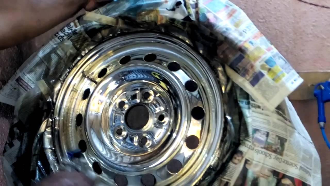 How To Polish Aluminum Wheels >> Normal wheel silver chrome sprayed , - YouTube