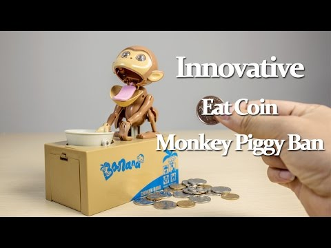 Innovative Eat Coin Monkey Piggy Bank review - Gearbest.com