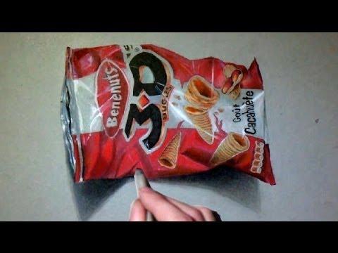 Dessin r aliste chips 3d youtube for Dessin en 3d