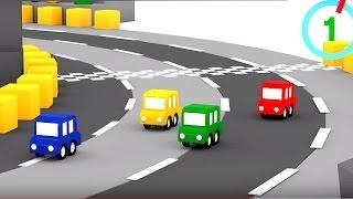 Cuatro coches coloreados - La pista de carreras  circular- Caricaturas de carros