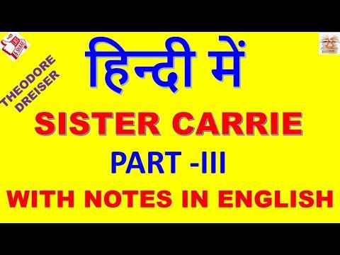 Sister Carrie In Hindi # Theodore Dreiser  . Part III .American Novel .  MA ENGLISH  . MEG.