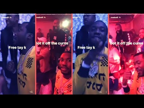 """Meek Mill Out For First Time Since NYC Jail Release Says """"Free Tay-K"""" Posted With James Harden"""