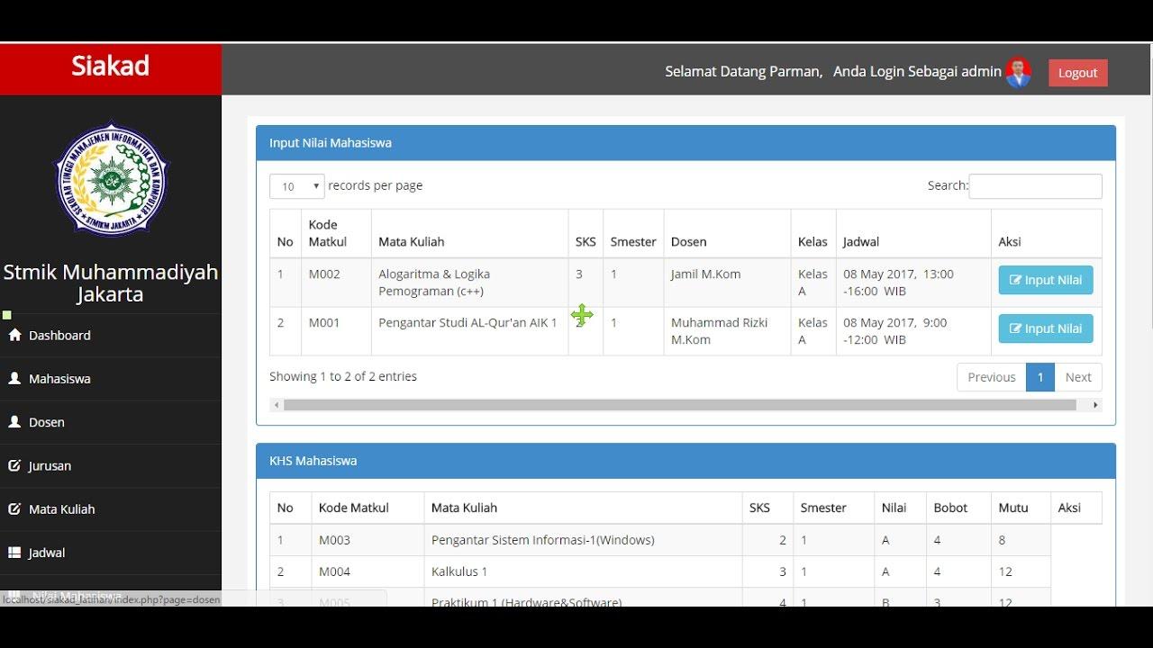 Sistem Informasi Akademik Berbasis Web Dengan Php Mysql Youtube