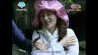 """[eng] Goo Hara touches Sunhwa's """"chest"""" + Victoria vs Hyomin water game (funny)"""