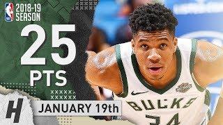 Giannis Antetokounmpo Full Highlights Bucks vs Magic 2019.01.19 - 25 Pts, 13 Reb, BEAST!