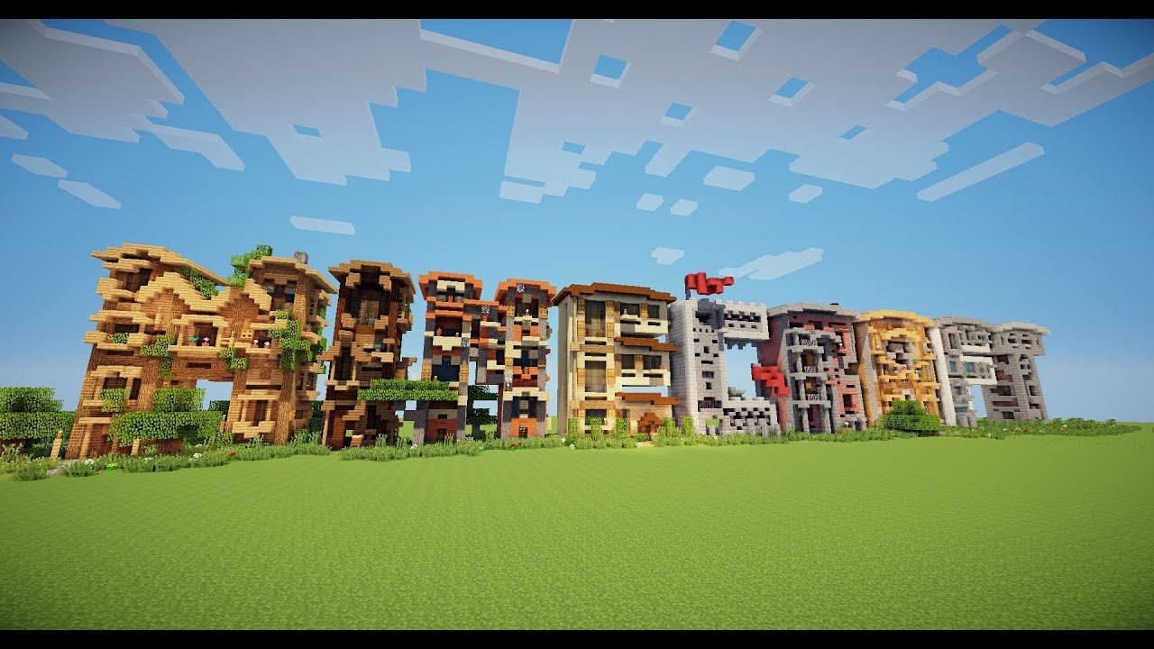 Minecraft Letter frame houses Timelapse! - YouTube