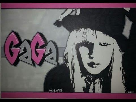 Lady Gaga Graffiti Letters & Stencil Drawing - Gaga
