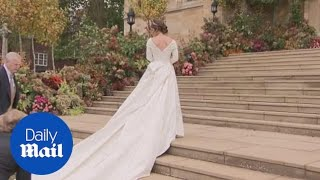 Princess Eugenie arrives at chapel in Peter Pilotto dress