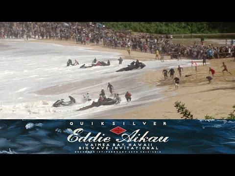 Water Patrol Jet Skis Get Caught Inside on Massive Wave at The Eddie 2015/2016