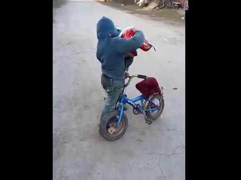 Байкеры на селе - дрифт на велосипеде, приколы )