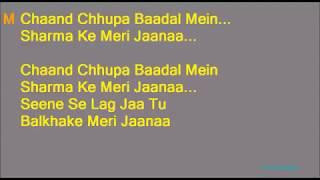 KARAOKE:~Chaand Chhupa Baadal Mein