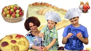 """Шарлотка с яблоками видео рецепт.  Готовим вкусный пирог """"Нежная шарлотка""""."""