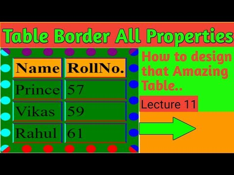 How to change,set Table border style,color in html || Html all border Properties by mind touch tech