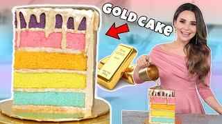 How To Make A Rainbow GOLDEN DRIP CAKE! - Nerdy Nummies